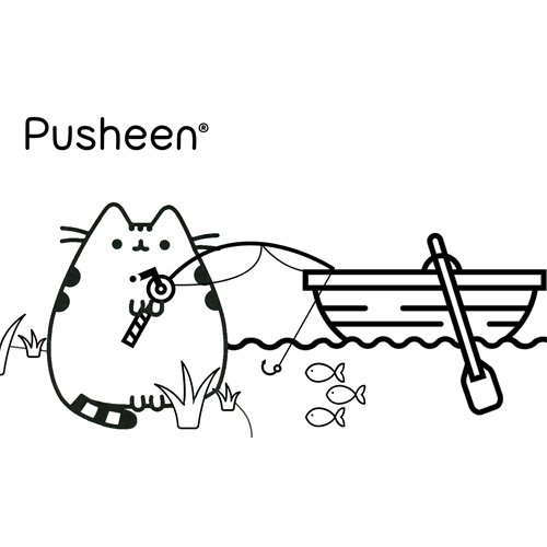 pusheen on fishing day coloring book